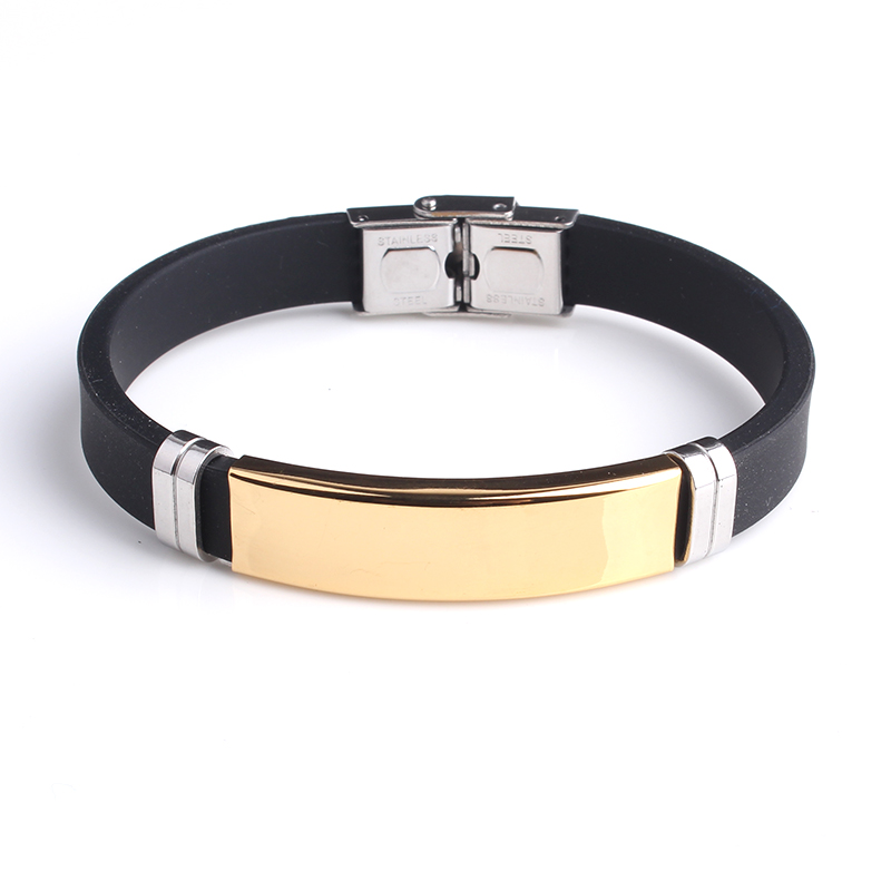 free shipping Gold color Smooth Silicone 316L Stainless Steel bracelets for men