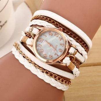 2017 New Fashion Winding Bracelet Watch Women Casual Dress Watches relojes mujer Vintage Leather Ladies Quartz Wrist watch Clock Bracelet Watches