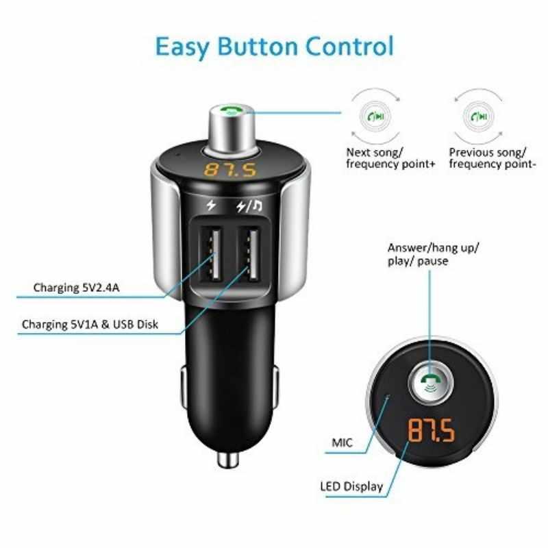 C27A Автомобиль Bluetooth fm-передатчик A2DP TF Музыка Автомобильный MP3-плеер 5 V 3.4A двойной зарядка через usb плеер Hamdsfree вызова в автомобильный комплект