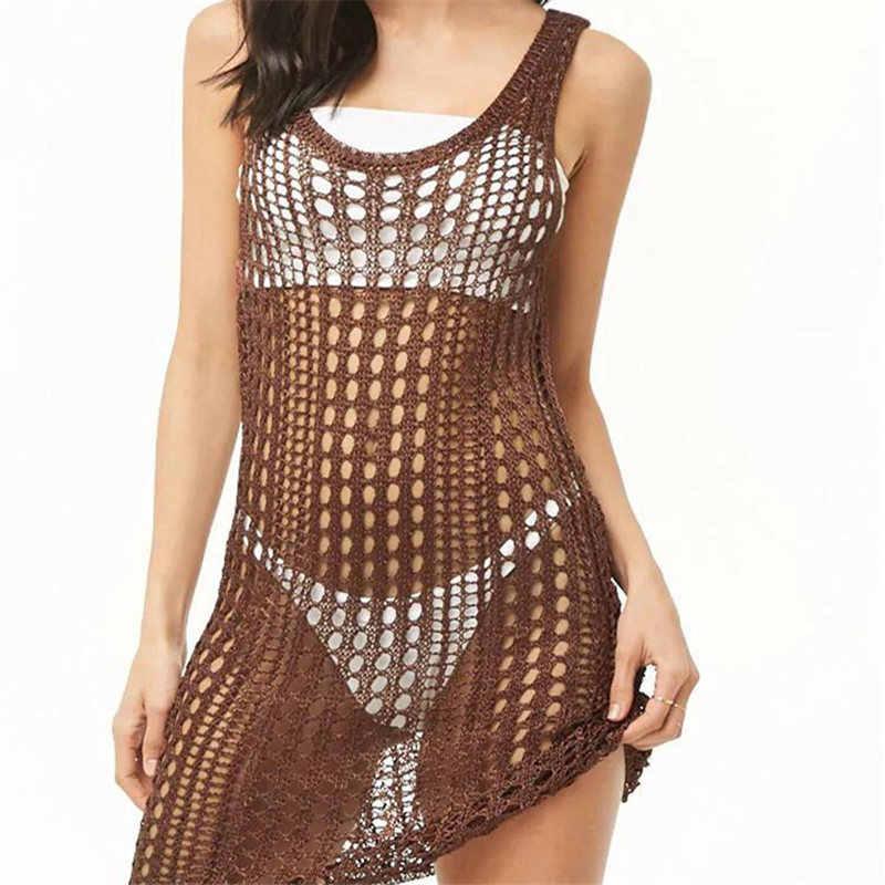 2020 sexy ver através de malha sem mangas mulheres verão praia wear malha vestido crochê túnica oco mini tanque vestido sarong n789