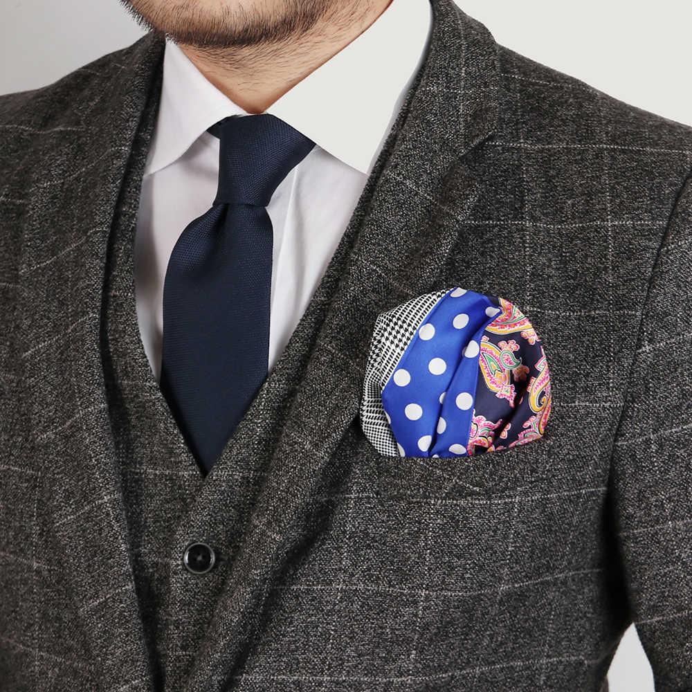 재단사 스미스 망 포켓 스퀘어 빈티지 대형 폴카 도트 체크 페이즐리 양복 손수건 럭셔리 남자 Hanky 액세서리