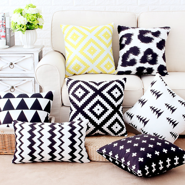 Double Side Print Supersoft Velvet Pillow Cover Black White Cushion Cover Home  Decor Pillow Decorative Throw