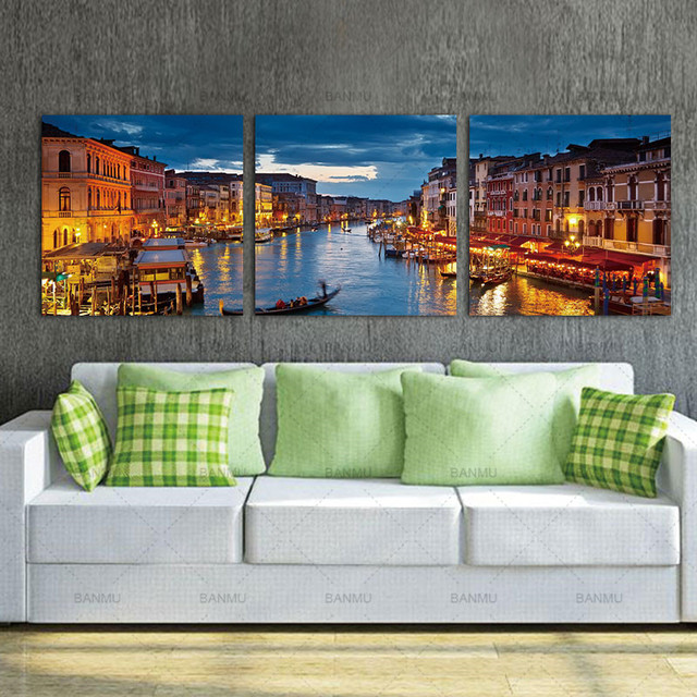 Aliexpress.com : Buy 3 Piece Canvas Wall Art Venice Canal Night ...