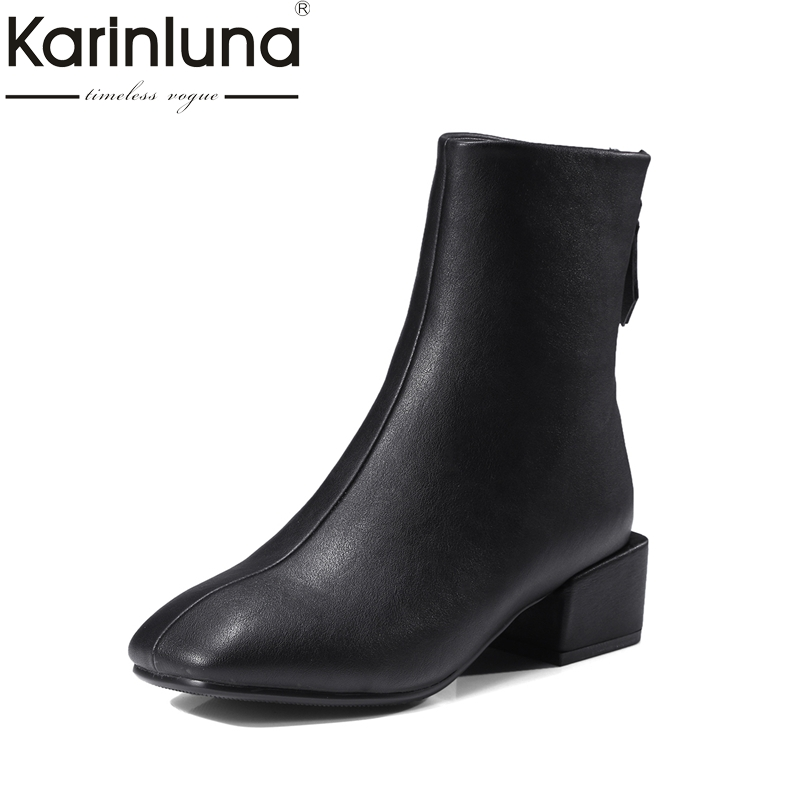 KARINLUNA Large Size 32-42 Fashion Square Toe Women Shoes Woman Square Heels Zip Up Ankle Boots Black Martin Boots Sliver
