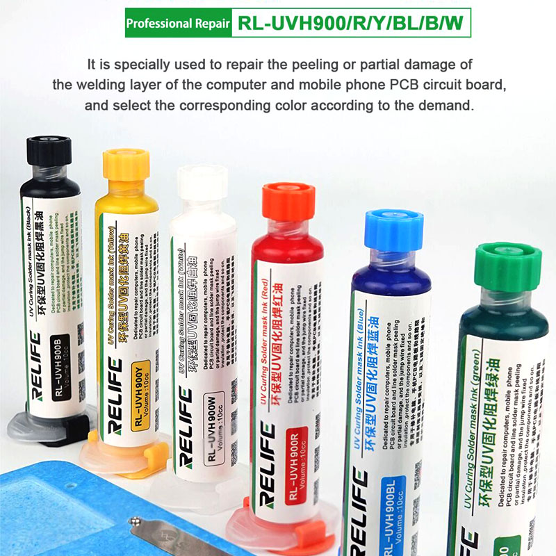 RELIFE Series UV Curing Solder Mask Repair Protect Oil For Computer Mobile Phone Notebook PCB Motherboard