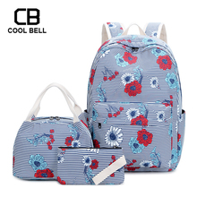 Striped Print Women School Backpack 3pcs/set For Girls Casual Waterproof Laptop Sports Bags Teenager