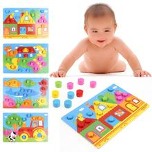 ФОТО colorful wooden baby toys cognition board kids montessori educational toy children jigsaw match game board puzzles baby toy