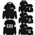 KPOP EXO Chanyeol Álbum NÓS SOMOS UM Beakhyun Coreano Moda D.O. Hoodies Zíper de algodão Roupas Zip-up Com Capuz