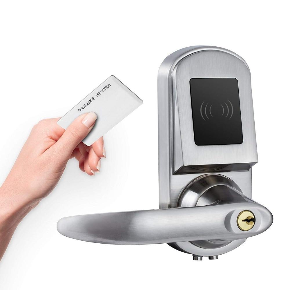 Golden Security Electronic Keyless Deadbolt Door Lock, Unlock By RFID Card,Mechanical Key,Satin Nickel,Silver samsung ezon shs 2920 digital door lock keyless security system with 2 key tags 4 rfid card