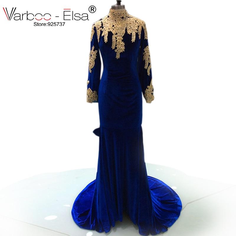 2018 Mermaid Prom Dresses Sexy Backless Royal Blue Long Sleeve