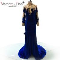 2018 Sirène Robes De Bal Sexy Dos Nu Bleu Royal Manches Longues Africain Partie de Robes De Haute Cou de velours robes de bal rouge