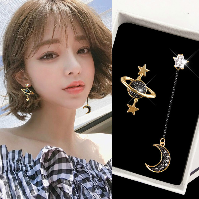 New Jewelry Personality Stars Moon Asymmetrical Black Long Earrings Jewelry Wholesale