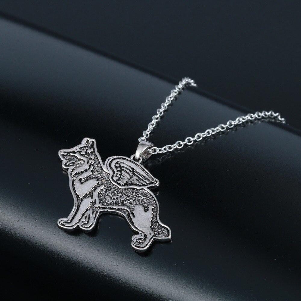 Тодорова Пособия по немецкому языку Shepherd Ангел щенок животного Ожерелья для мужчин кулон с цепочкой старинное серебро подарок для Для женщ...