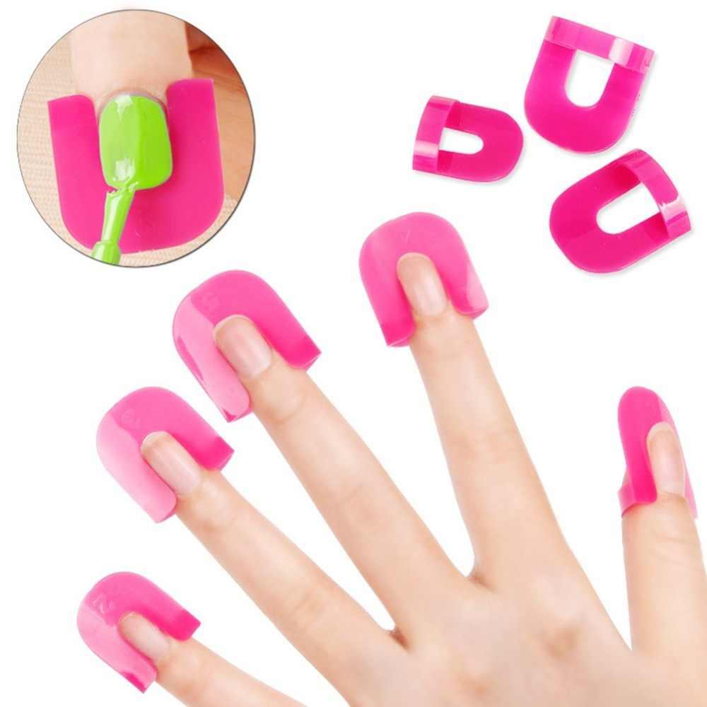 26 pçs/set 10 tamanhos de cola plástica rosa modelo à prova derramamento protetor manicure para a capa do dedo unha polonês escudo arte francesa