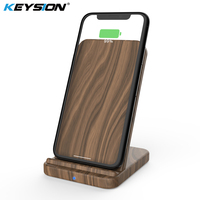 KEYSION 10W Wooden Qi Wireless Charger for iPhone XR XS Max 8Plus Xiaomi mi 9 fast Wireless Charging Stand for Samsung S10 S9 S8|Mobile Phone Chargers| |  -