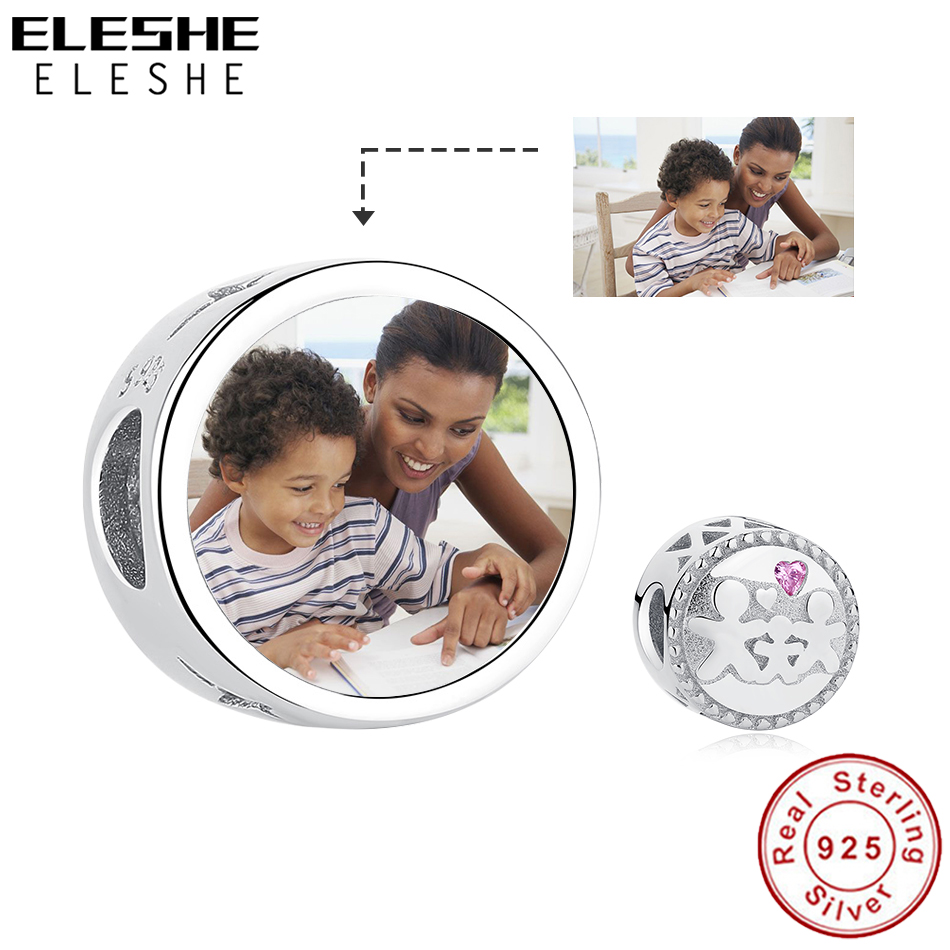 Personalized Custom Photo 925 Sterling Silver Family Beads Pave Pink Crystal Charms Fit Original Charm Bracelet DIY Jewelry 2019Personalized Custom Photo 925 Sterling Silver Family Beads Pave Pink Crystal Charms Fit Original Charm Bracelet DIY Jewelry 2019