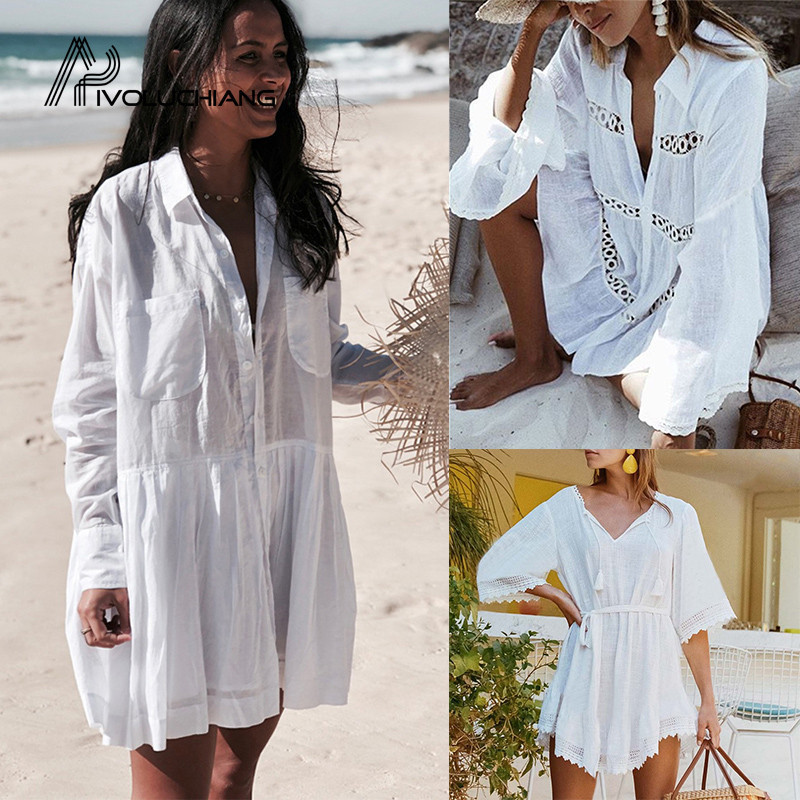 2019 White Cotton High Collar Cover Up Women Swimsuit Cover Up Sleeve Kaftan Beach Tunic  Pareo BeachDress Robe De Plage