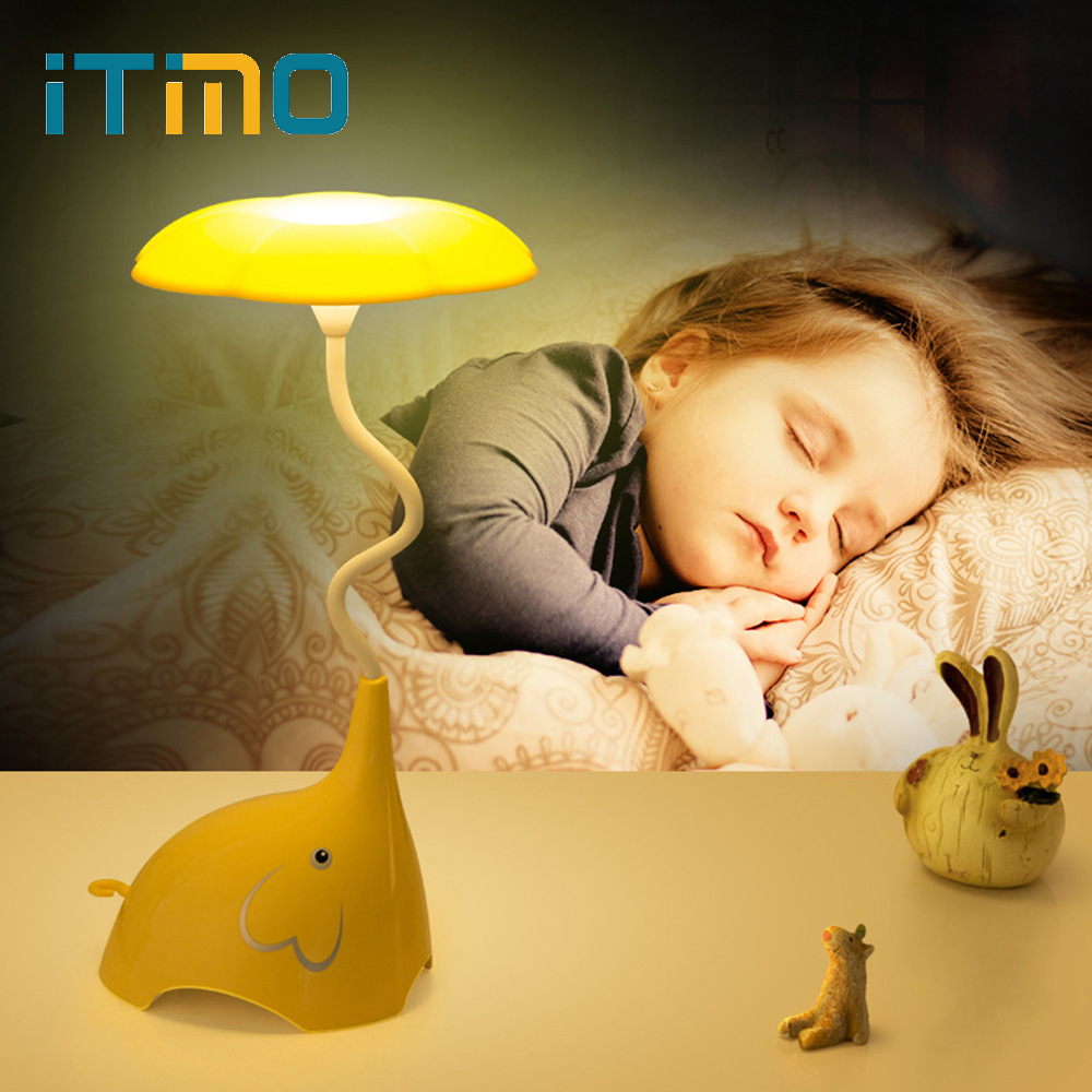 ITimo Small Elephant Sleep Lamp Touch Dimming Creative Plug Rechargeable LED Night light Three Brightness Mode Desk Lamp