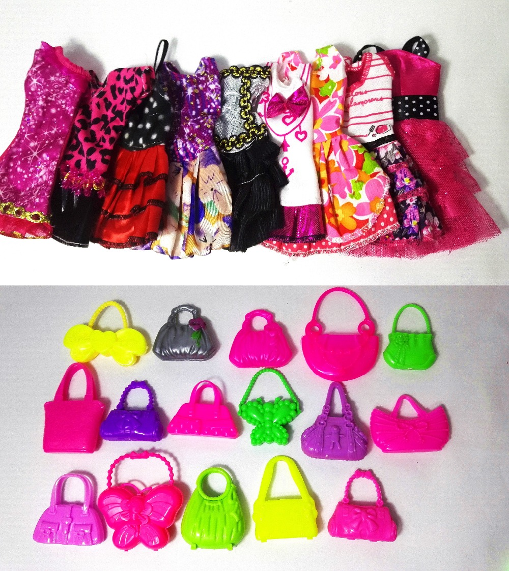 new 13 PCS = Handmade Social gathering 5 units Garments Vogue Combined model Costume + eight pcs Luggage Equipment for Barbie Doll Finest Reward Woman Toy