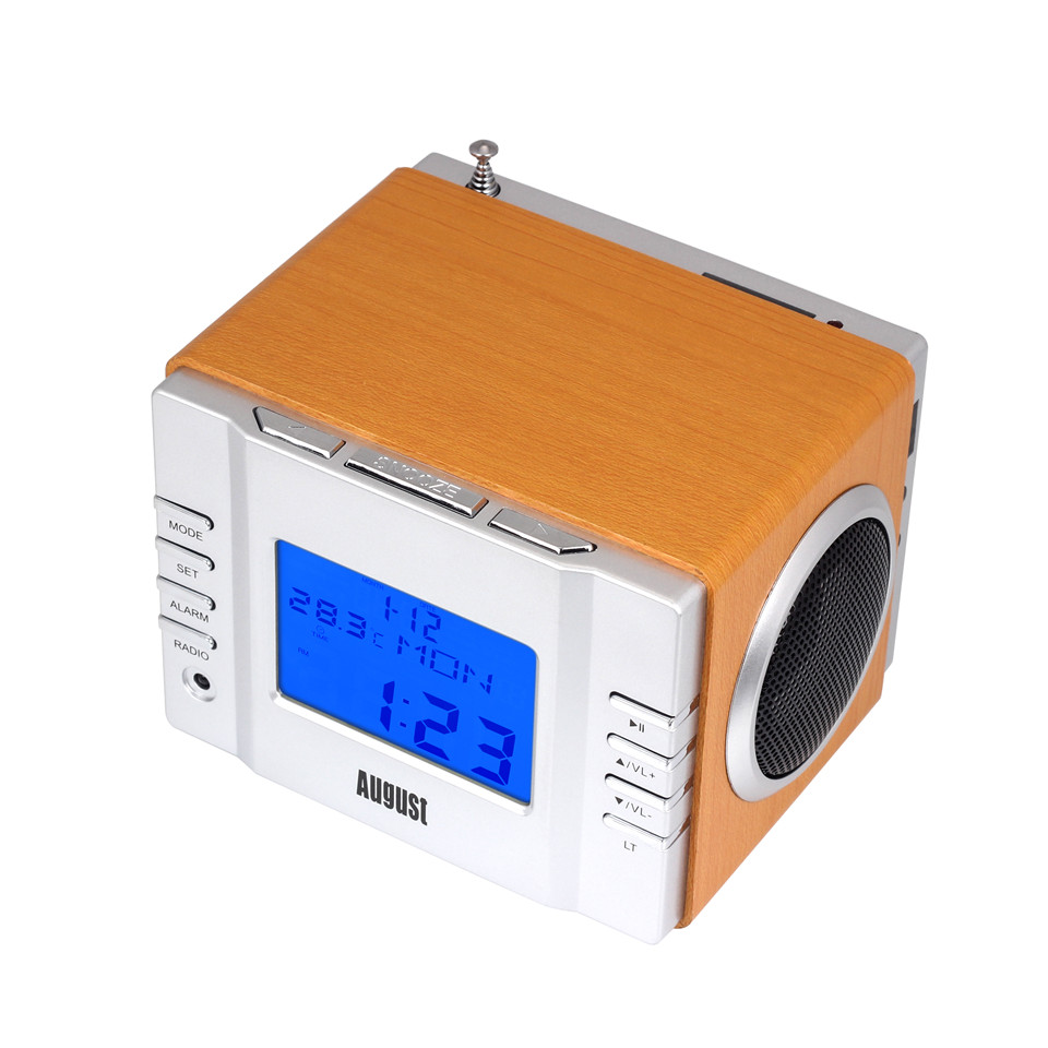 August MB300 Portable MP3 Stereo System with Clock Radio - Gold