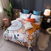 Bohemian style flowers print bedding set Egyptian cotton fabric Queen King Size Luxurious duvet cover flat sheet pillowcase
