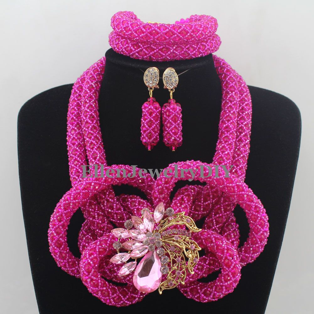 Hot Pink African beads Jewelry Sets Costume Nigerian Wedding Bridal beads Necklaces Beaded Jewelry Set W12817 for samsung galaxy tab s 10 5 case t800 t805 leather retro tablet fundas coque for samsung tab s 10 5 case cover with stand