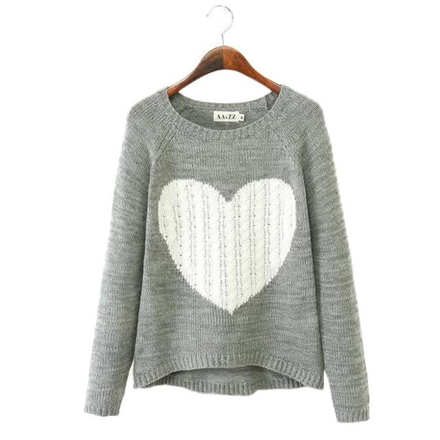 2016 New Fashion Women Elegant Heart Pattern O-neck Long Sleeve Knitwear Casual Slim Sweater