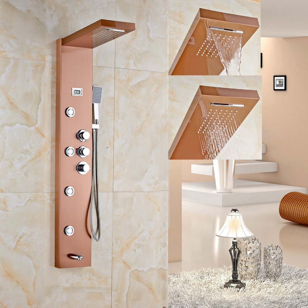 Luxury Rose Gold Finished Shower Faucet Wall Mounted Shower Panel Thermostat Control Shower Mixer Tap taie thermostat fy800 temperature control table fy800 201000