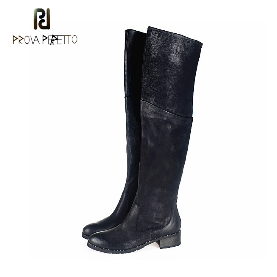 Prova Perfetto Fashion Round Toe Thick Bottom Winter Shoes Women Thigh High Boots Genuine Leather Rivet Beading Motorcycle Boots