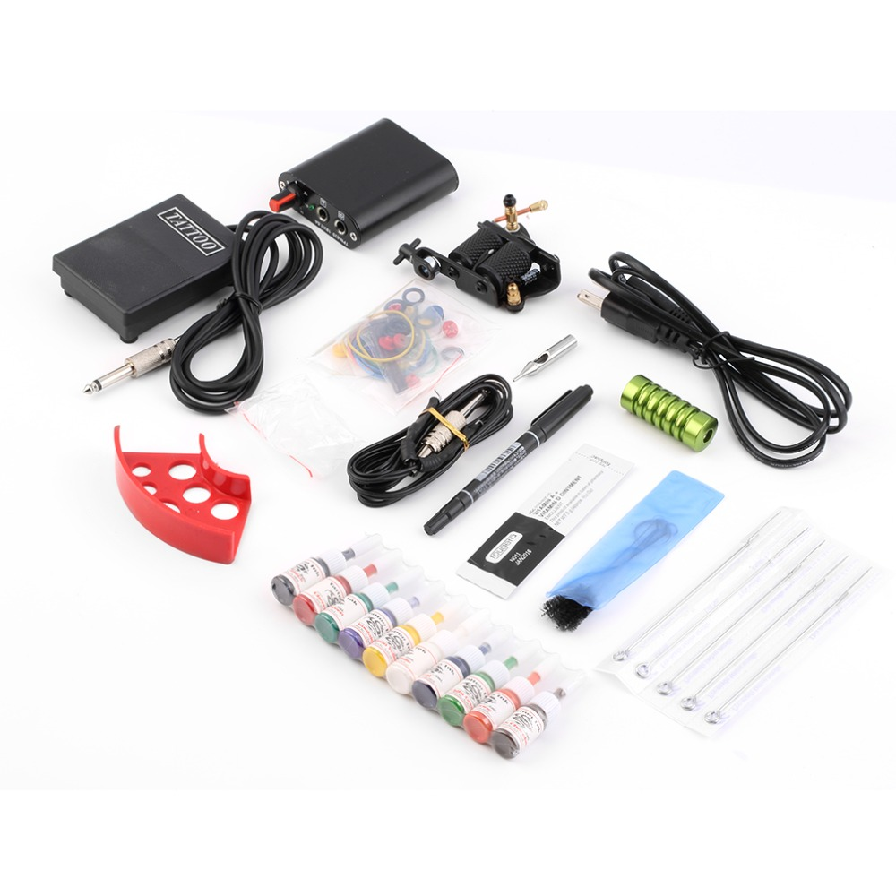 Complete Tattoo kits Pro Gun machine Power Pedal 10 Color ink sets power supply disposable needle Grip Tip Hot Selling кисть для глаз rouge bunny rouge crease brush 011