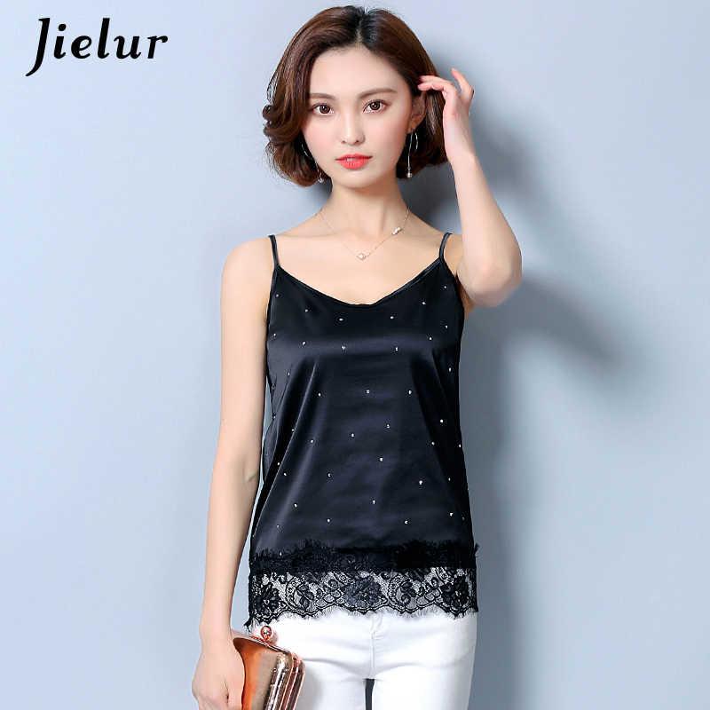 e54a14b8973df9 Jielur Silk Shirt Sexy Dot Printed Lace Hollow Out Women s Tank Top Solid  Bottoming Tops Summer