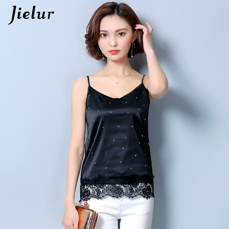 Jielur Silk Shirt Sexy Dot Printed Lace Hollow Out Women's   Tank     Top   Solid Bottoming   Tops   Summer Autumn Camis Lady Camisole S-XXL