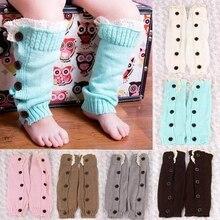 Теплые Модные Вязаные кружевные гетры с пуговицами для маленьких девочек; носки с манжетами