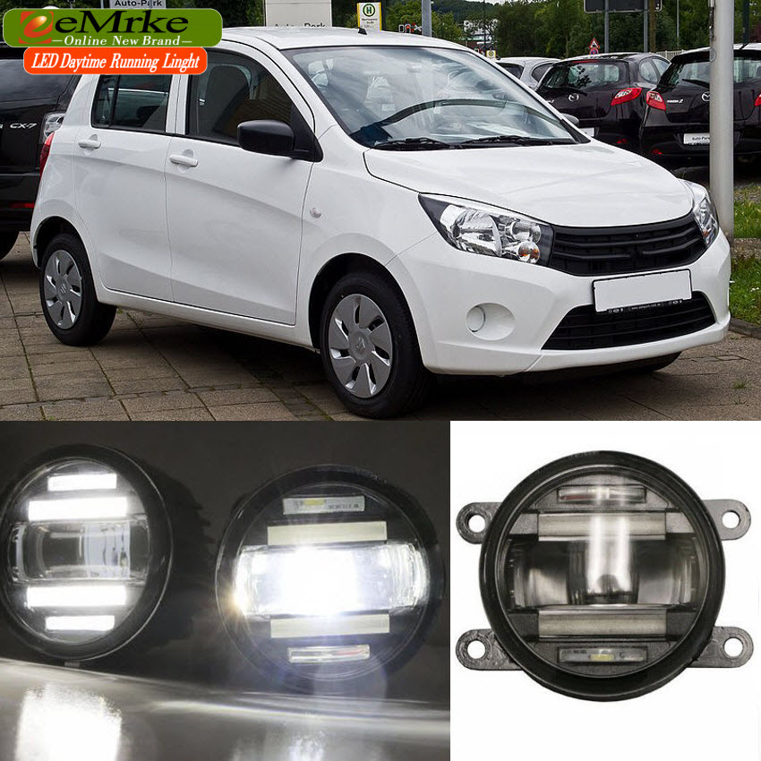 eeMrke Xenon White High Power 2in1 LED DRL Projector Fog Lamp With Lens For Suzuki Celerio eemrke xenon white high power 2 in 1 led drl projector fog lamp with lens daytime running lights for renault kangoo 2 2008 2015