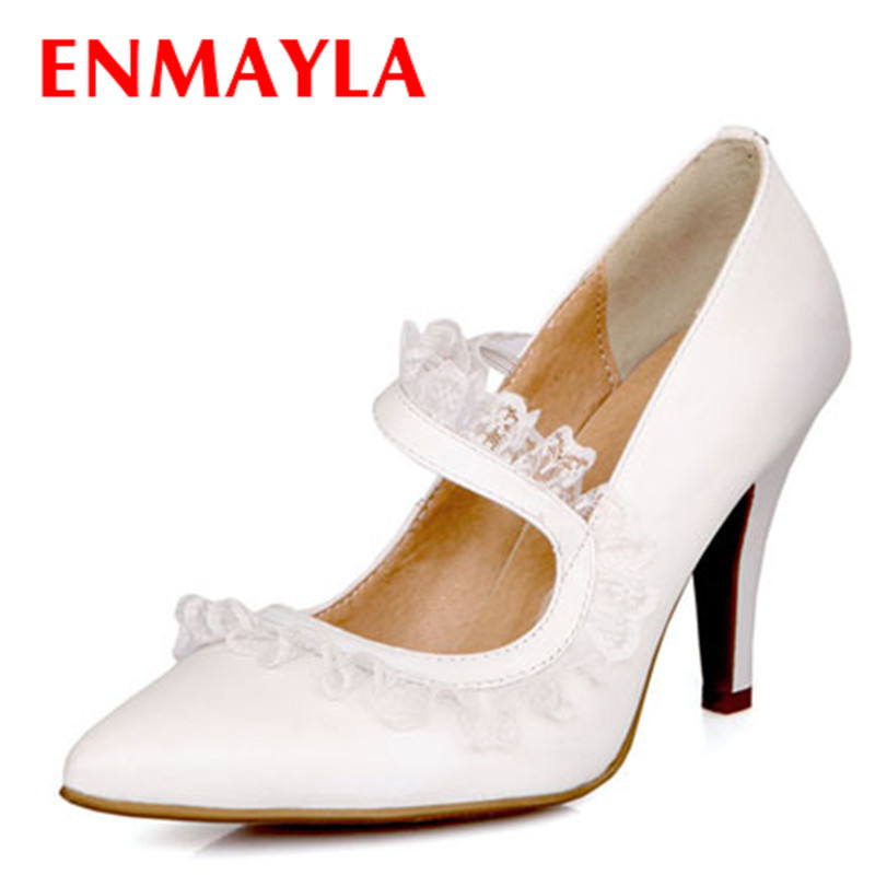 ФОТО ENMAYLA Sexy High Heels Pointed Toe Lace Ladies Pumps Women Thin Heels 9cm High Shoes Retro Party Dance Shoes Women Pumps Size