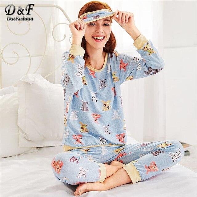 Dotfashion Animal Pattern Long Pajama Set Multicolor Cartoon Round Neck School Female Clothes 2019 New Pajama Set