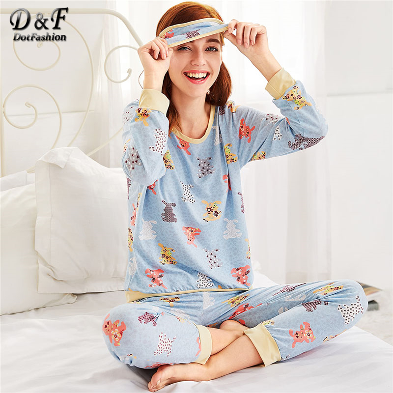 Dotfashion Animal Pattern Long   Pajama     Set   Multicolor Cartoon Round Neck School Female Clothes 2019 New   Pajama     Set