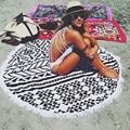 Summer Microfiber Bathroom Round Beach Tassel Towels Print Bohemian Style Circle Serviette De Bain Toalla Playa Swimming Mat