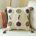 Бохо стиль наволочка круглая подушка шерстяная ручная работа с кисточками для дивана простая домашняя декоративная льняная 45х45см