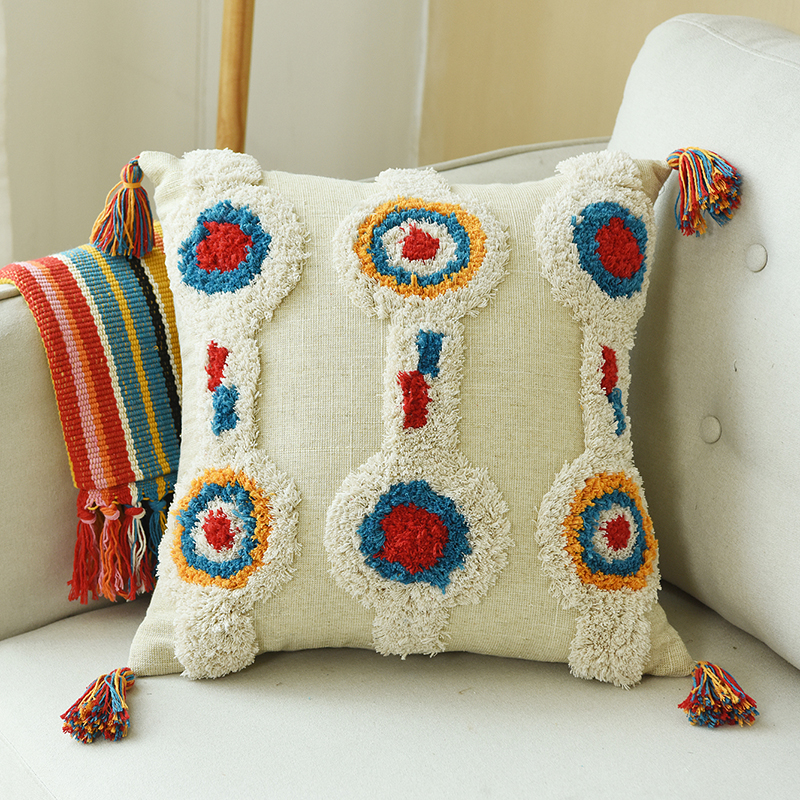 Boho Style Cushion Cover Circle  Pillow Case Wool Handmade with Tassels For Sofa Seat Simple Home Decoractive Linen 45x45cm|Cushion Cover|Home & Garden - title=
