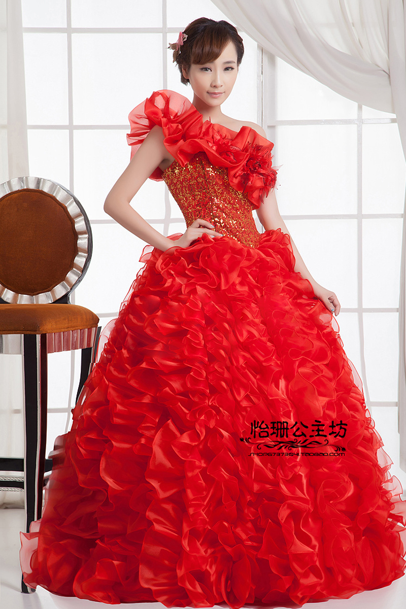 Image 5 - Quinceanera Dresses Princess Red/Green Flower One Shoulder  Sleeveless Ball Gown Lace up Floor Length Organza quinceanera  ruhaQuinceanera Dresses
