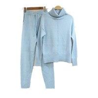 2018 новые осенние и зимние модные вязаный костюм свитер вязаный Штаны комплект из двух предметов