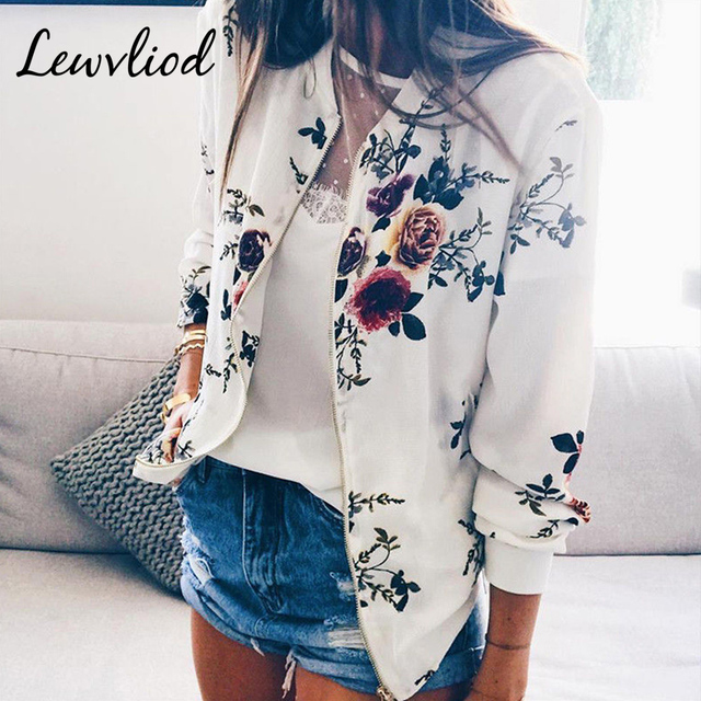 Plus Size Female Bomber Jackets Retro Floral Printed Ladies Top Spring Zipper Thin Coat Long Sleeve O Neck Short Outwear Clothes