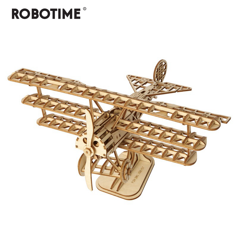 Robotime DIY 3D Laser Cutting Wooden Airplane Puzzle Game Gift For Children Kids Model Building Kits Popular Toy Hobbies TG301