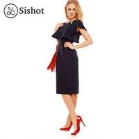 Sishot Women Straight Dresses 2017 Butterfly Sleeve Elegant Mid Calf Dark Blue Plain O Neck Short
