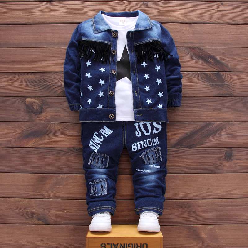 Vestidos Baby Boys Clothes 2017 Fashion Denim Jacket+Long Sleeved T-shirts Tops+Jeans Outfits Kids Bebes Jogging Suits Tracksuit 2pcs children outfit clothes kids baby girl off shoulder cotton ruffled sleeve tops striped t shirt blue denim jeans sunsuit set