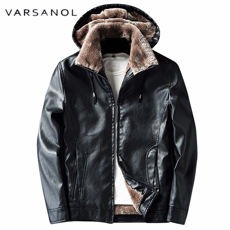 Varsanol Hoodies Pu Leather Man Jacket Wintet Warm Wool Liner Thick Coats For Men 2018 High Quality Polyester Zipper Pocket Tops