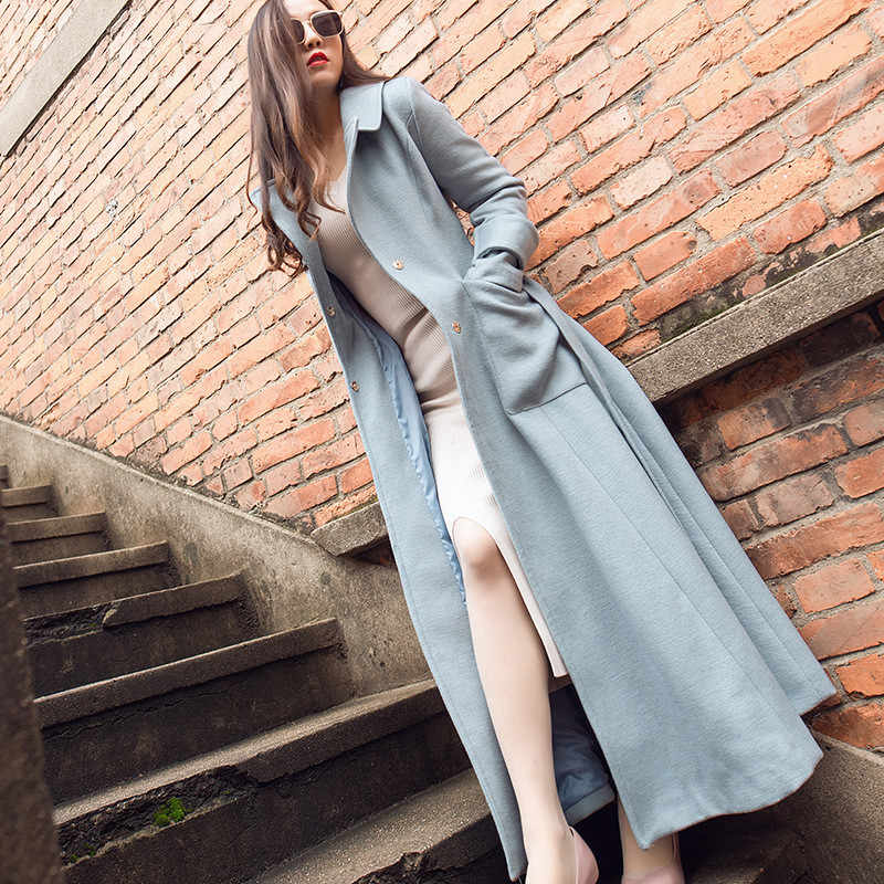 Maxi Coat Long Sleeve Belt Collared Long Sleeve Light Sky Blue Woolen Coat