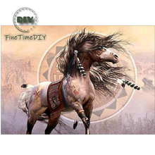 FineTime 5D DIY Diamond Embroidery Handsome Horse Partial Drill Animals Diamond Painting Cross-stitch Mosaic Painting finetime lucky fish 5d diy diamond painting partial drill diamond embroidery cross stitch animals mosaic painting