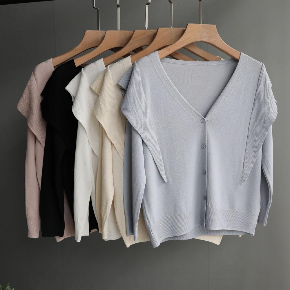 Sun Cardigan Women Short Ice Silk Ruffled Long Sleeve Knitwear Short Shawl Office V neck Ladies Tops Thin Knitted Girls Sweaters